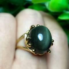 晶之缘水晶  超美极品绿发晶猫眼戒指