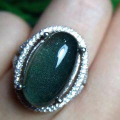 晶之缘水晶   超美【聚宝盆】星光绿幽灵水晶  戒指