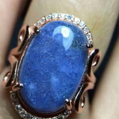 晶之缘水晶 水晶戒指无加色处理   支?#25351;?#26816;      925银包边活口   ,越带越蓝  超美