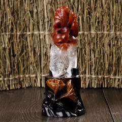 纯天然俏色红水晶连升三级,大吉大利,全家福摆件,纯手工雕刻