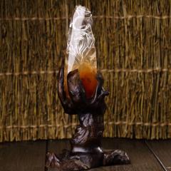 純天然紅水晶俏色壽星擺件,配原生態實木底座,純手工雕刻,支持國檢