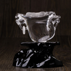 天然白水晶摆件龙,纯白体,无瑕疵,纯手工雕刻,双面雕,招财辟邪,防辐射,配原生态底座,支持国检
