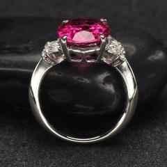 沃晶的世界 绝美卢碧莱碧玺戒指,pt900铂金镶嵌,近全净体