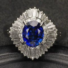 沃晶的世界   浓郁皇家蓝  pt90铂金豪镶  宝石戒指