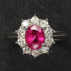 沃晶的世界  绝美红宝石戒指~pt900铂金镶嵌,经典款