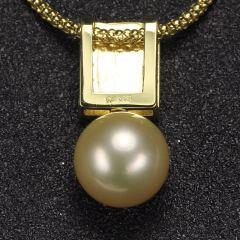 沃晶的世界   12mm海水金珠吊坠,18K金镶嵌,复古精致~大气款