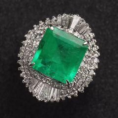 沃晶的世界  最后一款超给力pt900铂金镶嵌哥伦比亚祖母绿戒指