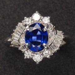 沃晶的世界  绝美豪华斯里兰卡蓝宝戒指,颜色浓郁~pt900铂金镶嵌