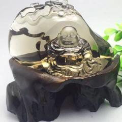 虹潤珠寶商行  【一生有福 財源滾滾】天然茶黃水晶彌勒佛擺件,雕工精致,造型別致