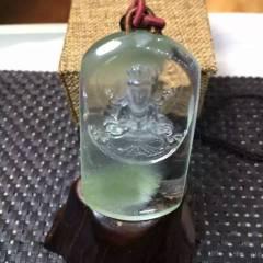虹润珠宝商行  天然绿幽灵雕刻观音吊坠,水晶吊坠  绿幽灵形成银山一样,做工精细