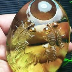 虹润珠宝商行  【年年有余 有求必应 金玉满堂】天然黄水晶雕刻年年有余(鱼)把件、把玩 颜色黄润