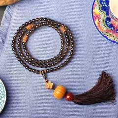 虹潤珠寶商行  剛剛設計一款,天然煙晶108顆佛珠手鏈項鏈,水晶手鏈項鏈 實物比圖片要美