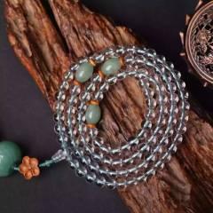 虹润珠宝商行  天然白水晶108颗佛珠手链项链,配珠丰富,实物比图片更美