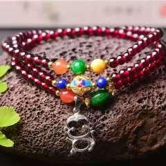 润铭水晶   纯天然石榴石三圈手链!配925银,蜜蜡,南红,干青。