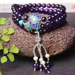 潤銘水晶  純天然紫水晶手鏈!配925銀燒藍,珍珠!