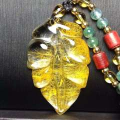润铭水晶  金枝玉叶水晶吊坠 精品天然形状黄发晶吊坠,纯白体,晶体剔透,️棉️裂,完美无瑕