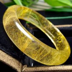 晶之靈水晶  天然發晶手鐲(內徑54mm)發絲金黃,晶體通透,發晶是招財辟邪保平安旺事業的圣品,