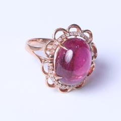 美石美刻 豪华18K红碧素面镶钻石戒指
