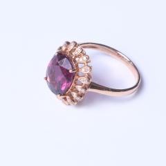 美石美刻 豪华18K大红碧切面镶钻石戒指