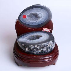 晶之艺 天然巴西玛瑙聚宝盆  宽×长×高:14cm×14cm×16cm