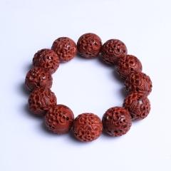 雕刻人生  小叶紫檀手串 20 mm