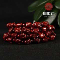 厂家直销印度小叶紫檀手串 单面笑佛精品雕刻佛珠手链