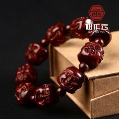 批发 印度老料小叶紫檀四面佛雕刻手串 原创设计佛珠手珠