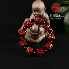 厂家供应 印度小叶紫檀 精雕十八罗汉 佛珠 手链 手串