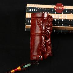 厂家直销 工艺品貔貅竹节 印度小叶紫檀木雕手把件 挂件