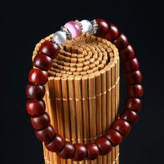 印度老料小叶紫檀木佛珠手链 DIY原创设计念珠苹果圆桶珠女款手串
