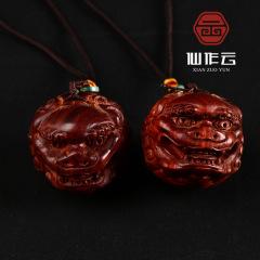 厂家批发科檀雕刻狮子头 科特迪瓦小叶紫檀赞比亚血檀狮头手把件