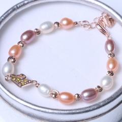 LV珠光宝气 天然彩色淡水珍珠米珠手链小天鹅银饰手链