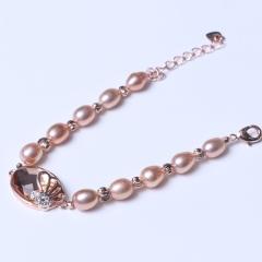 LV珠光宝气 天然淡水珍珠米珠 金色 925银尾链手链