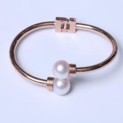 LV珠光宝气 天然双珍珠馒头珠双珠系列钛钢手镯