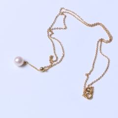 LV珠光寶氣 調節鏈925銀 金色 珍珠正圓