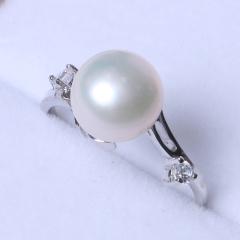 LV珠光宝气 天然淡水馒头珠戒指925银