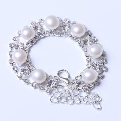 LV珠光宝气 天然淡水白色珍珠馒头珠水钻系列手链