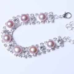 LV珠光寶氣 天然淡水紫色珍珠饅頭珠水鉆系列手鏈
