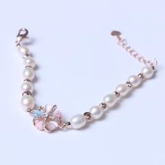 LV珠光宝气 天然淡水白珍珠米珠水晶花系列手链