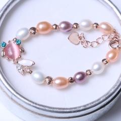 LV珠光寶氣 天然彩色珍珠小金魚米珠手鏈