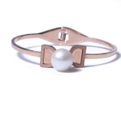 LV珠光寶氣 天然珍珠鈦鋼手鐲
