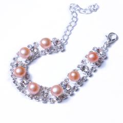 LV珠光宝气 天然淡水黄色珍珠馒头珠水钻系列手链
