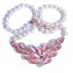 浣纱珍珠  珍珠 近圆微瑕项链带粉色小孔雀 项链 配件钛钢
