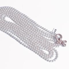 浣纱珍珠  珍珠毛衣链 多层珍珠毛衣链 珍珠微瑕 扣925银扣