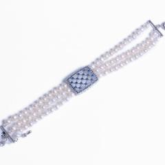 浣纱珍珠  珍珠手链 5mm三排珍珠手链延长扣 配件为925银