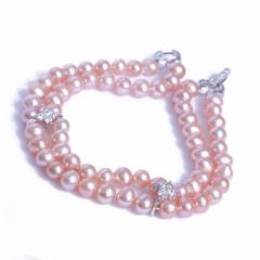 浣纱珍珠  珍珠手链 5-6近圆双排珍珠手链