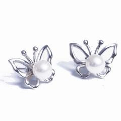 浣纱珍珠  珍珠耳饰 蝴蝶款多种戴法珍珠耳环