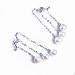 浣纱珍珠  珍珠饰品 7-8 韩国明星同款耳环 流苏 925纯银耳环