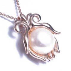 浣纱珍珠  珍珠吊坠 11-12 佛手捧珠 配件钛钢