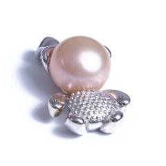 浣纱珍珠  珍珠吊坠 8-9小熊珍珠吊坠 925纯银